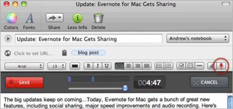 Evernote 2.1 für Mac OS X - Audio-Aufnahmefunktion