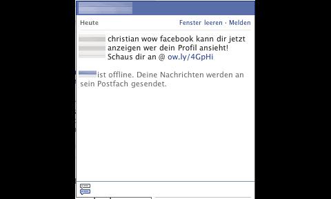 Facebook-Chat mit der Aufforderung, eine Anti-Stalker-App zu installieren