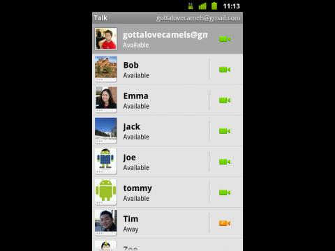 Google Talk für Android mit Videotelefonie