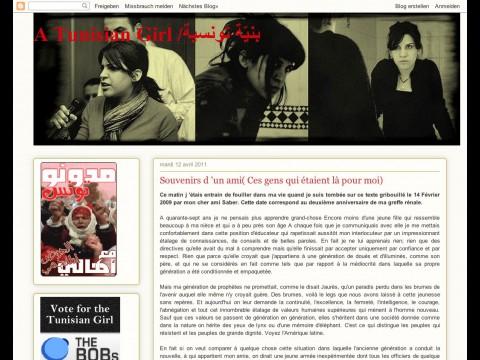 """""""A tunesian girl"""" (ein tunesisches Mädchen) wurde als das beste Blog der Welt ausgezeichnet."""