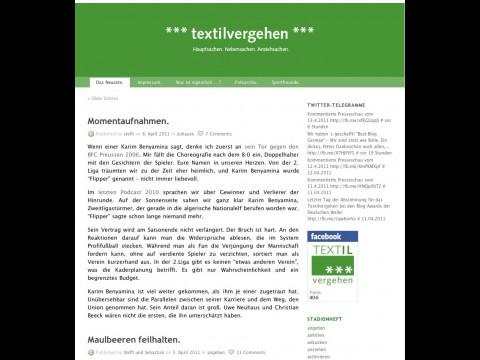 Das Fußballblog Textilvergehen.de kam bei deutschen Nutzern gut weg.