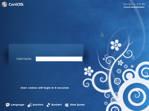 Der Login Screen der Live-CD von Cent OS 5.6