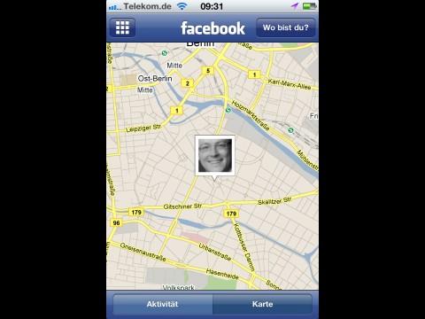 Die Facebook-App bietet nun auch eine Kartenansicht bei der Orte-Funktion. (Screenshot: Golem.de)