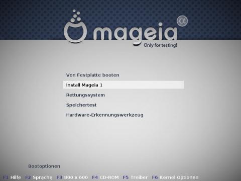 Bootbildschirm der Installations-CD