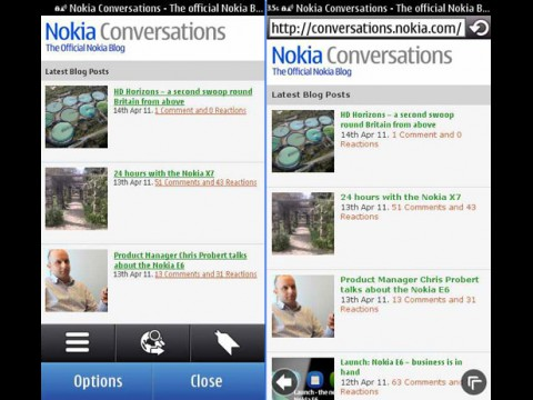 Links der Symbian-Browser 7.2 auf dem Nokia N8, rechts die neue Version 7.3 auf dem Nokia X7 (Bild: Nokia)