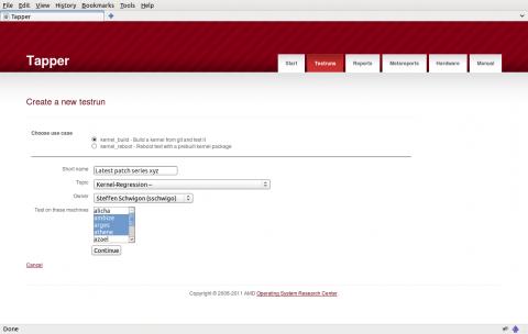 Das grafische Frontend der Testsuite Tapper von AMD