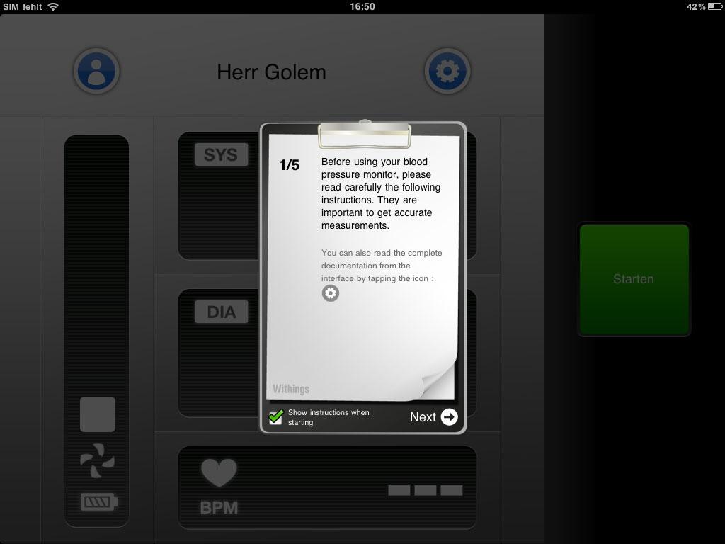 Withings BPM ausprobiert: Blutdruck messen mit dem iPhone - Withings Blood Pressure Monitor - die Withings-App auf dem iPad (Bild: ck)