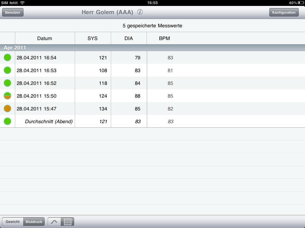 Withings BPM ausprobiert: Blutdruck messen mit dem iPhone - Withings Blood Pressure Monitor - Listenansicht der Messergebnisse (Bild: ck)