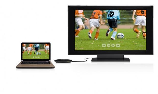 Belkin Screencast TV-Adapter - macht Fernseher per WLAN zum externen Display von Sandy-Bridge-Notebooks. (Bild: Belkin)