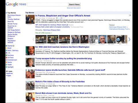 Google News (Bild: Google) mit zusammengeklappten Themenbündeln