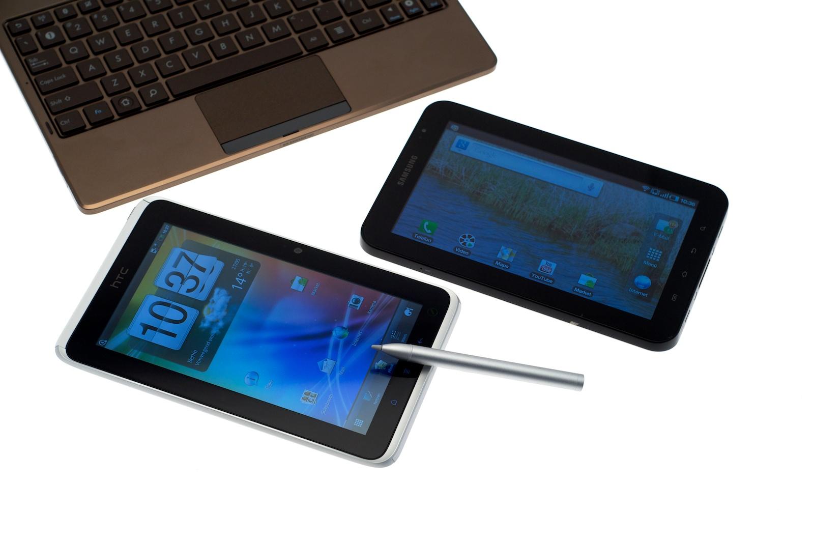 HTC Flyer im Test: Gelungenes Android-Tablet mit eigener Handschrift - HTCs Flyer im Vergleich zu anderen Tablets (Bilder: Andreas Sebayang)