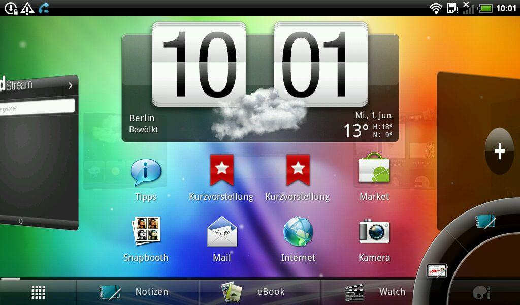 HTC Flyer im Test: Gelungenes Android-Tablet mit eigener Handschrift - Querformat. Unten rechts: die Stiftwerkzeuge