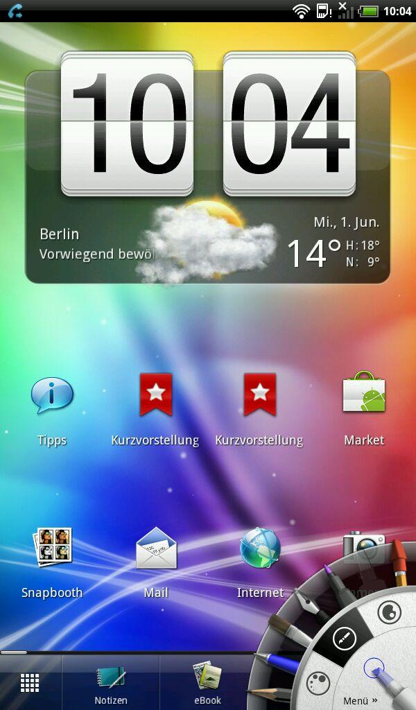 HTC Flyer im Test: Gelungenes Android-Tablet mit eigener Handschrift - Stiftwerkzeuge in der Ecke
