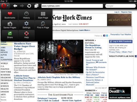 Opera Mini 6 auf dem iPad