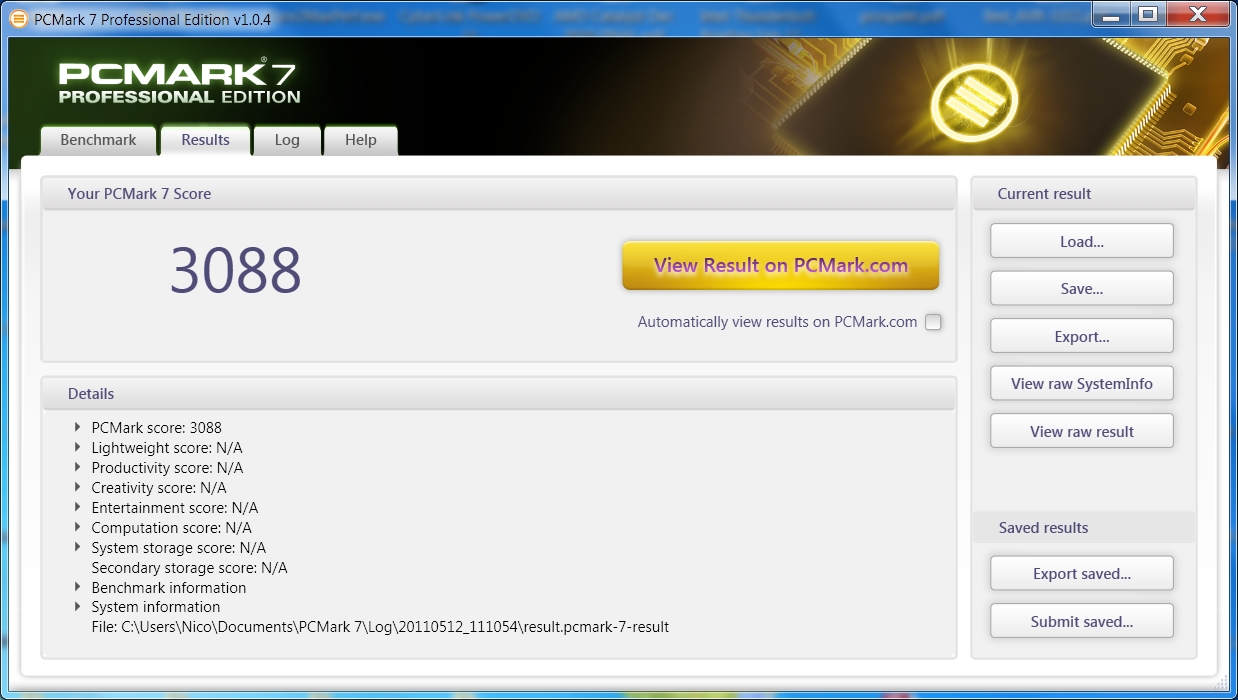 PCMark 7 im Test: Benchmark mit realen Anwendungsprofilen - Ergebnis auf Core i7-860, 12 GByte RAM, Radeon HD 6950, Seagate Momentus XT