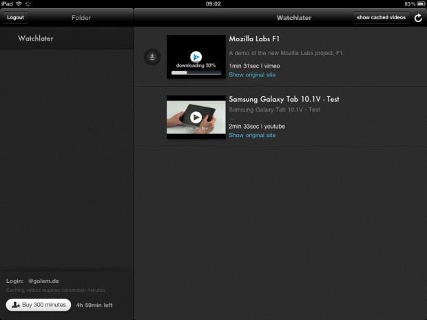 Watchlater auf dem iPad