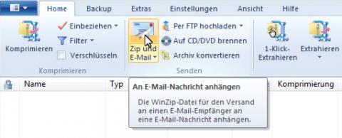 Winzip 15 - Zip- & Mail-Funktion