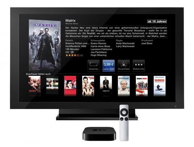 Apple TV, zweite Generation - normalerweise nur ein iTunes- und Youtube-Empfänger (Bild: Apple)
