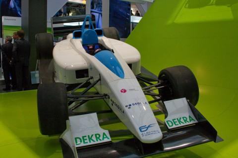 Der Rennwagen Formulec, hier auf der Hannover Messe, ist auch auf der Challenge Bibendum vertreten. (Foto: wp)