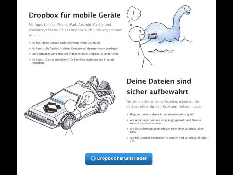 Dropbox-Werbung - seit Mitte April 2011 wirbt der Dienst nicht mehr damit, dass niemand die Dateien ansehen kann. (Bild: Golem.de)
