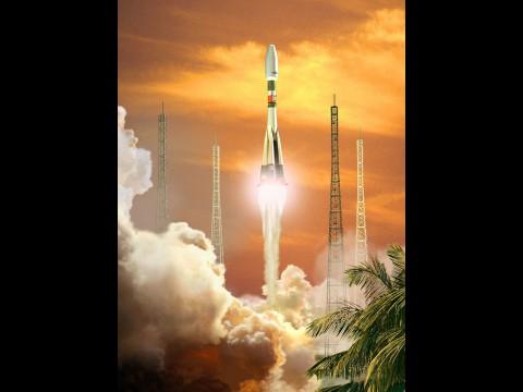 Eine russische Sojus-Rakete wird von Kourou aus ... (Bild: ESA)