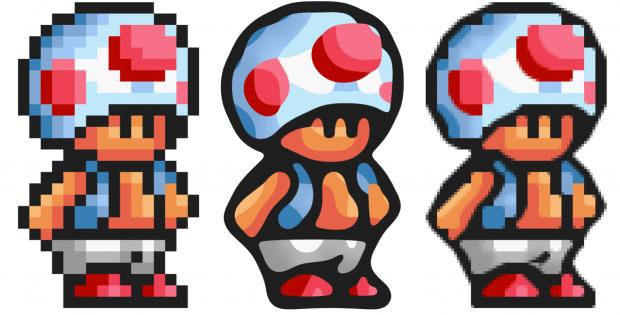 Depixelizing Pixel Art: Toad in 16 x 27 Pixeln (links), Vektordarstellung mit dem Algorithmus von Kopf und Lischinski (Mitte) und hq4x (rechts)