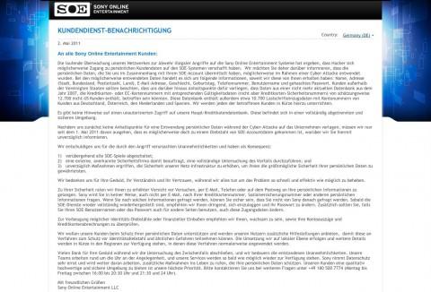 Sony Online Entertainment (SOE) informiert seine Kunden über den Hack und eine kompromittierte Datenbank.