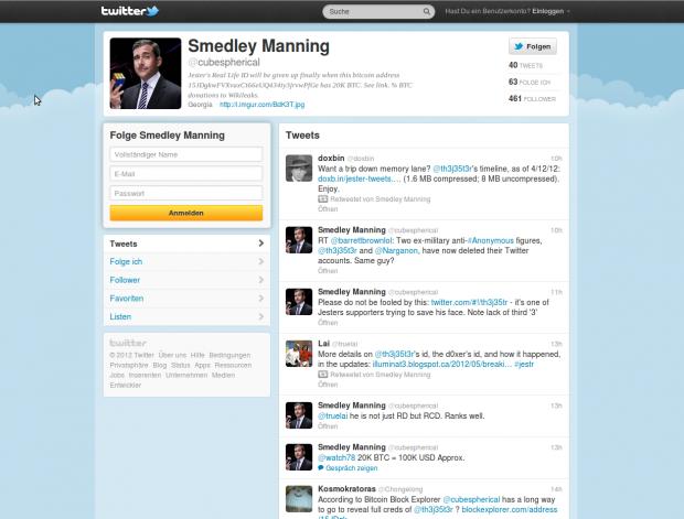 Die Twitter-Seite des mutmaßlichen Entdeckers der Identität von The Jester