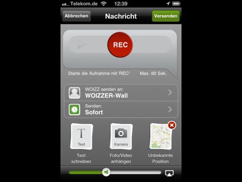 Woizzer-App - Sprachnachrichten auf Wunsch mit Foto und Standortangabe (Bild: Golem.de)