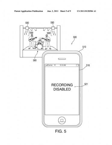 US-Patentantrag 20110128384 - Kamera- und Tonaufnahme bei Konzert ausgeschaltet