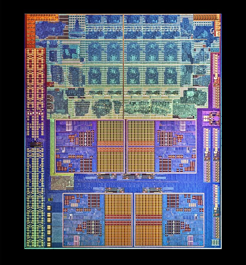 CPU: AMDs sparsamer Llano für Desktops als neue Mittelklasse - Das Die von Llano mit vier Kernen und einer Milliarde Transistoren