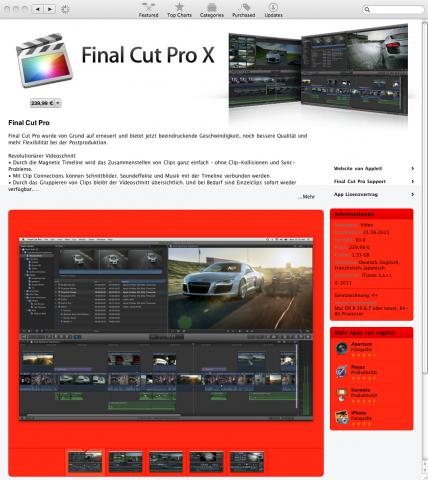 Final Cut Pro X im deutschen App Store