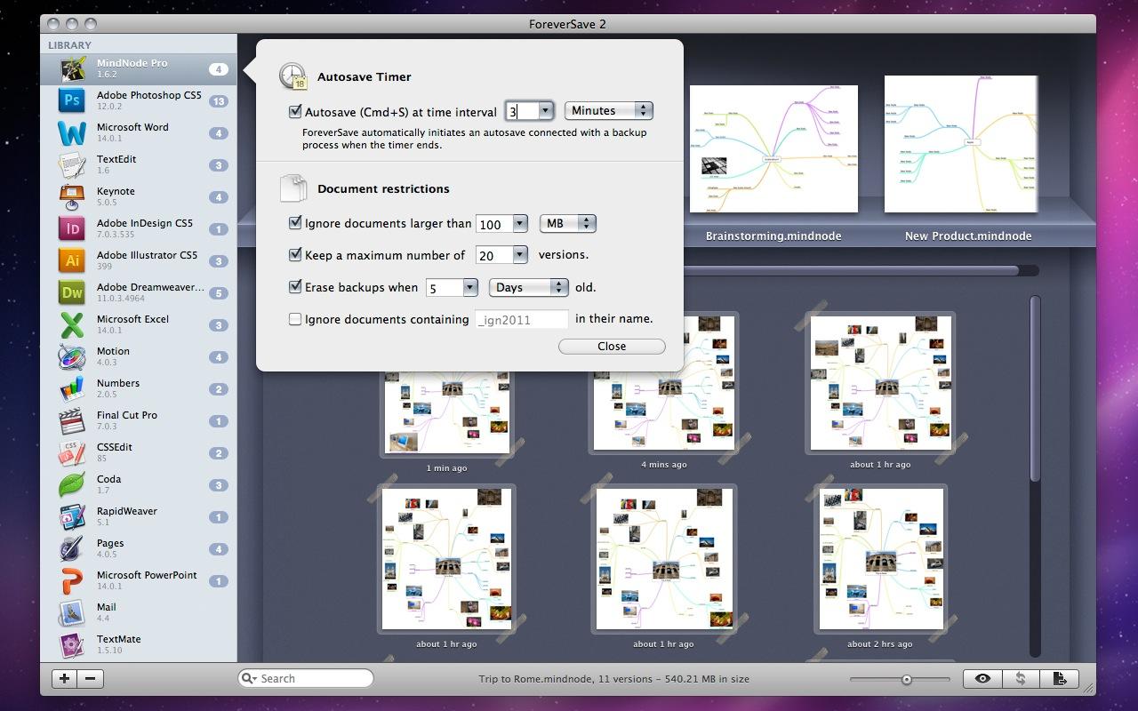 Mac OS X: Programmabstürze ohne Datenverlust mit Foreversave - Foreversave - Konfiguration (Bild: Tool Force Software)