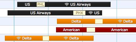 Hipmunk zeigt, auf welchen Flügen WLAN zur Verfügung steht.