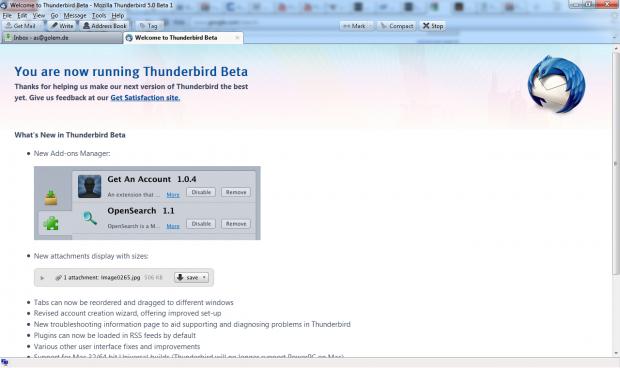 Die Oberfläche wurde überarbeitet. Hier Thunderbird 5.0 Beta 7 unter Windows 7