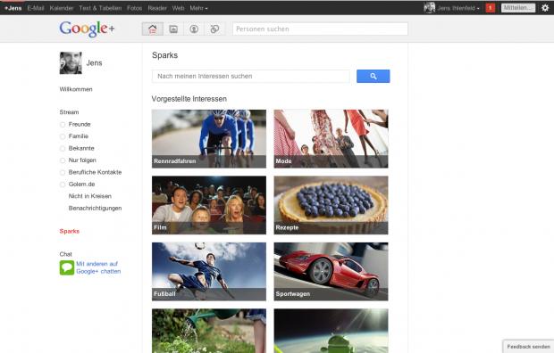 Google+: Sparks zeigen Neuigkeiten zu beliebigen Themen