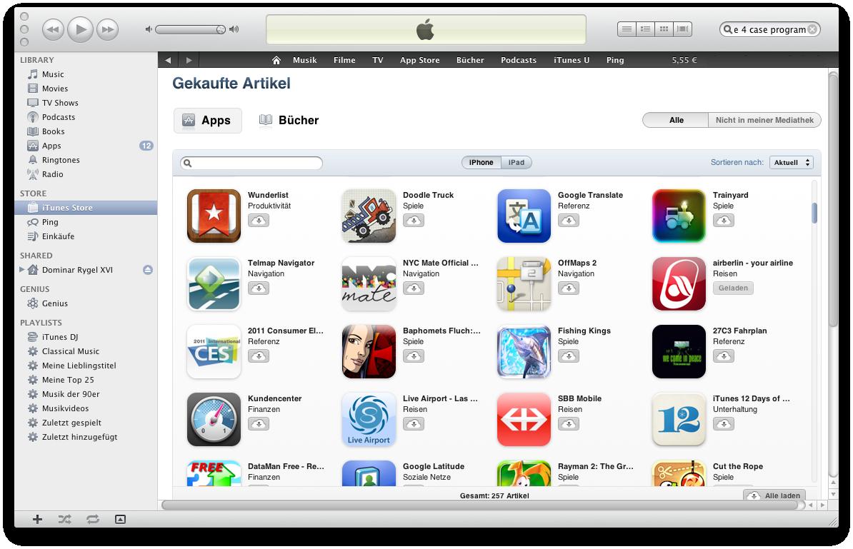 Ausprobiert: Cloud-Synchronisation mit iTunes 10.3 - iTunes 10.3 mit einem deutschen iTunes-Konto