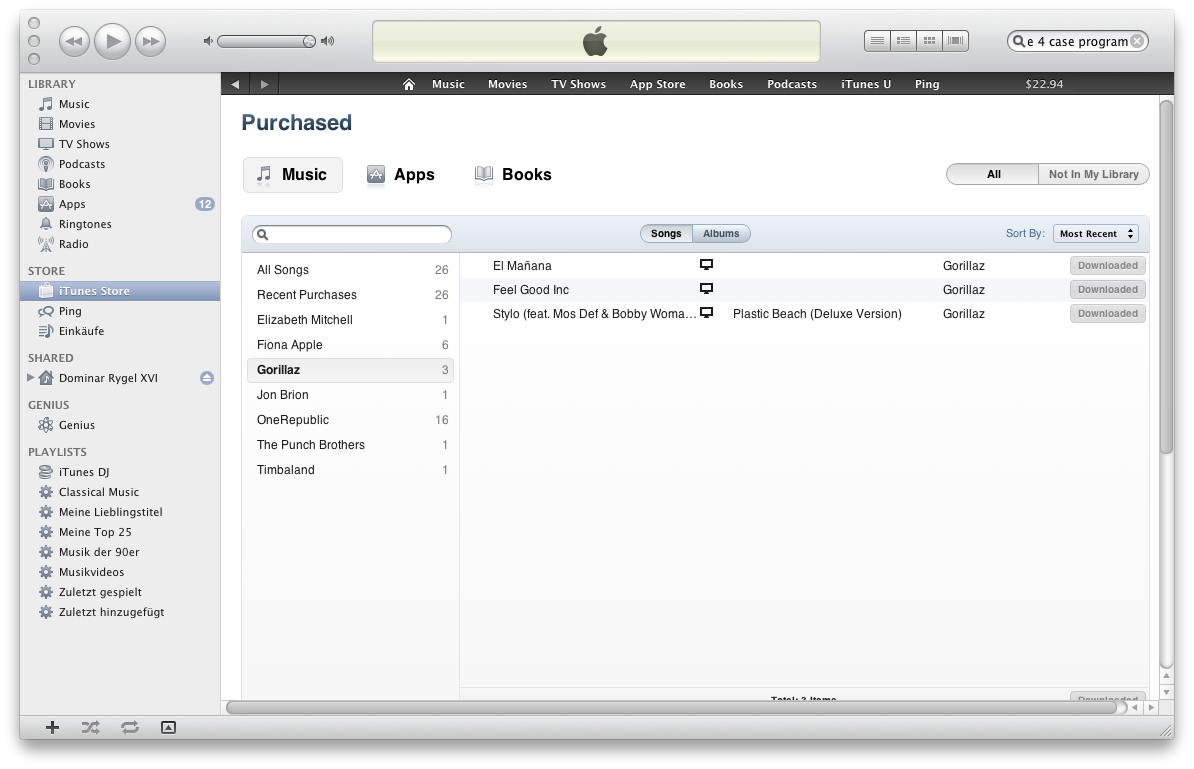 Ausprobiert: Cloud-Synchronisation mit iTunes 10.3 - Anders mit einem US-Konto. Hier wird auch Musik angeboten.