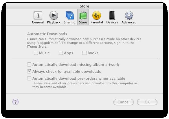Ausprobiert: Cloud-Synchronisation mit iTunes 10.3 - Neue Optionen in den Einstellungen