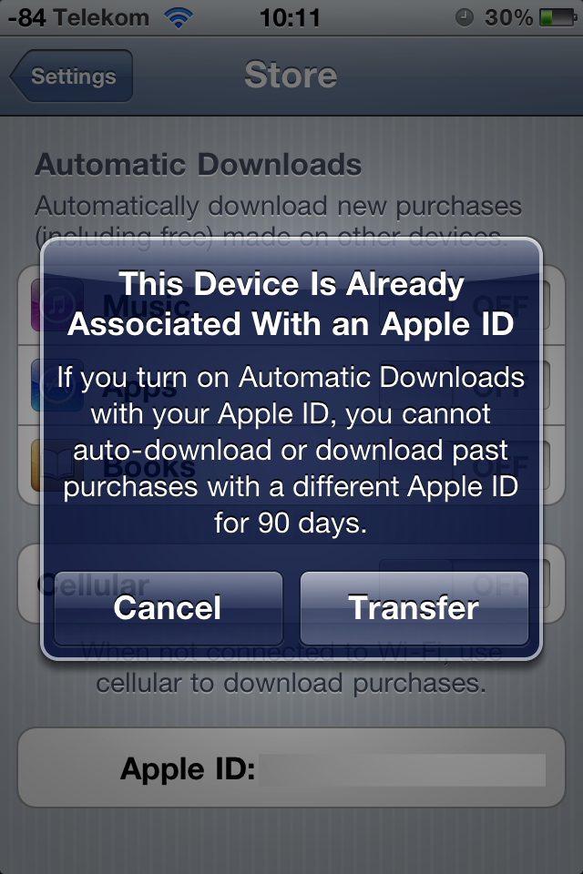 Ausprobiert: Cloud-Synchronisation mit iTunes 10.3 - Der Wechsel zum US-Account ist mit einer Warnung verbunden.