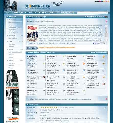 Die Streamhoster von Kino.to, die meisten sind inzwischen offline