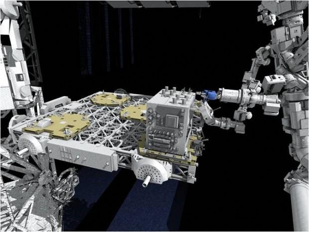 RRM: So stellt sich der Künstler die Weltraumtankstelle im Einsatz vor. Rechts ist Dextre zu erkennen. (Bild: Nasa)