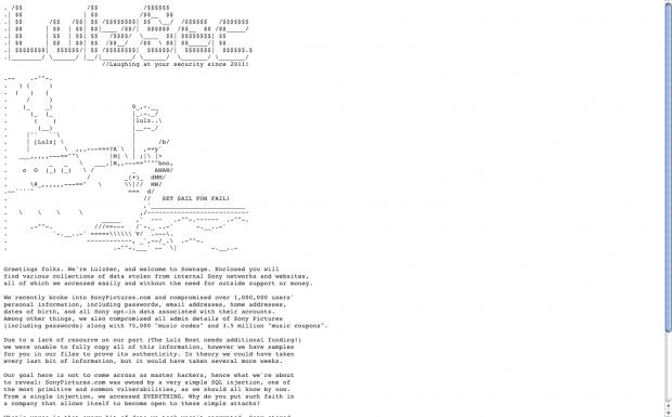 Lulzsecs Ankündigung zum Sony-Pictures-Hack (Bild: Golem.de)