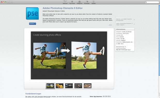 Adobe Photoshop Elements 9 im Mac App Store (Bild: Apple)