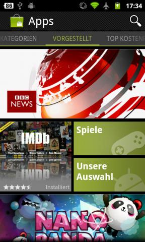 Android Market 3.0.26 - Startbildschirm