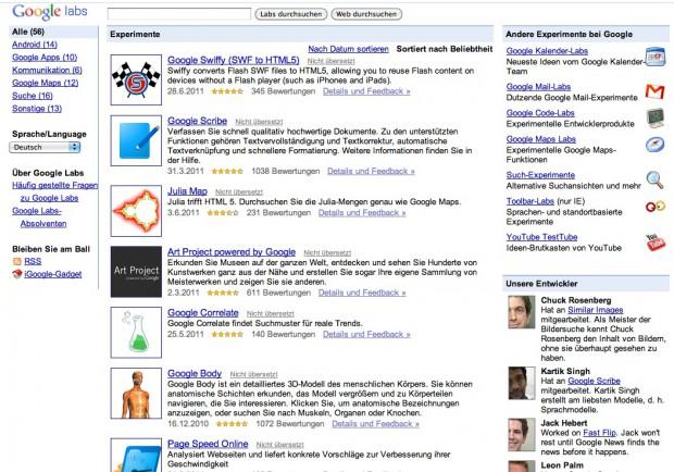 Google Labs (Bild: Google)