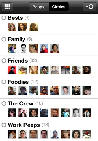 Google+ auf dem iPhone - Circle-Übersicht (Bild: Google)