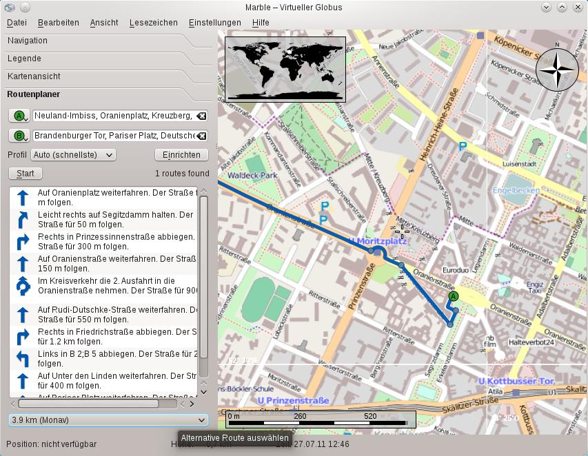 Test: KDE SC 4.7 auf dem Weg zur Tablet-Oberfläche - Der virtuelle Desktop Marble kann offline mit Monav Routen berechnen.