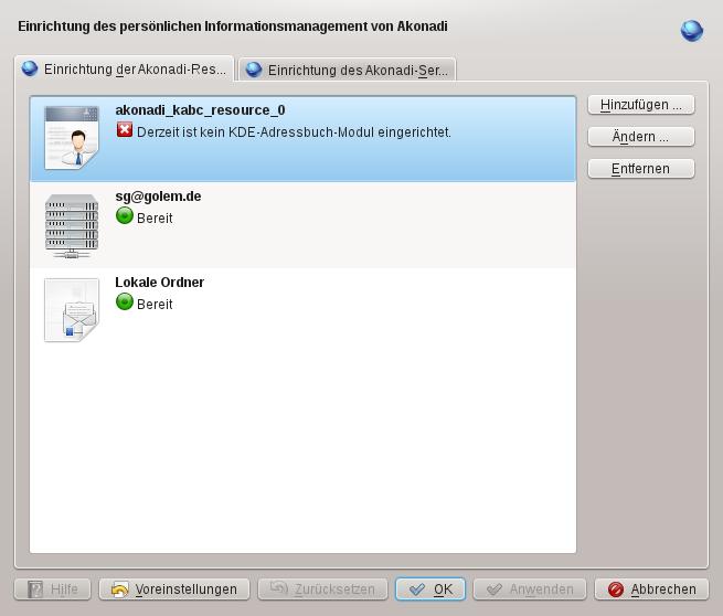 Test: KDE SC 4.7 auf dem Weg zur Tablet-Oberfläche - ...aber die PIM-Anwendungen nutzen nun das Akonadi-Framework.