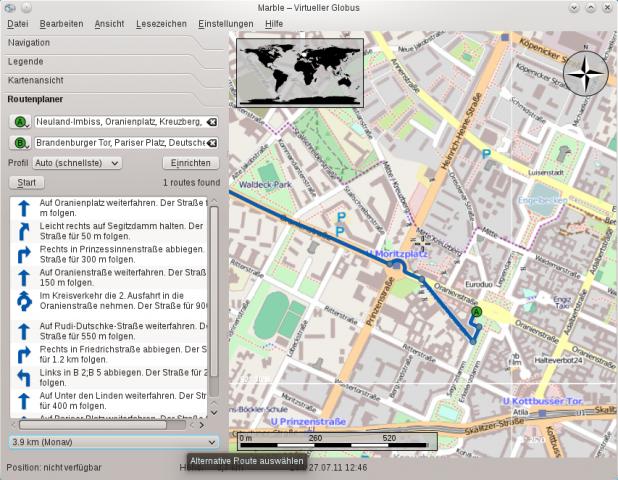 Der virtuelle Desktop Marble kann offline mit Monav Routen berechnen.